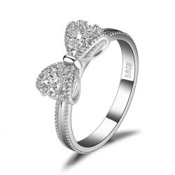 Bow knot Cubic Zirconia 925 Sterling Silver Rings for Women