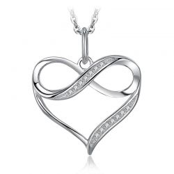 Infinity Love Heart Silver Pendant Necklace 925 Sterling Silver