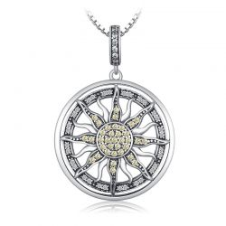 Celestial Sun 925 Sterling Silver Cubic Zirconia Charm Pendant