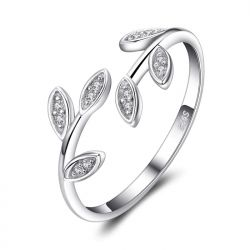 Olive Leaf CZ Rings 925 Sterling Silver Rings for Women