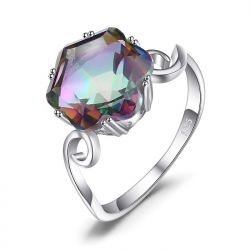 925 Sterling Silver 4ct Genuine Rainbow Mystic Topaz Ring
