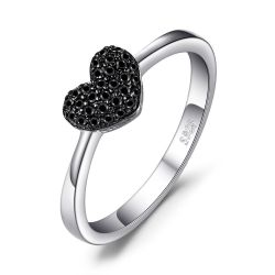Heart Natural Black Spinel Ring 925 Sterling Silver