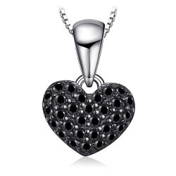 Heart Natural Black Spinel Pendant Necklace 925 Sterling Silver