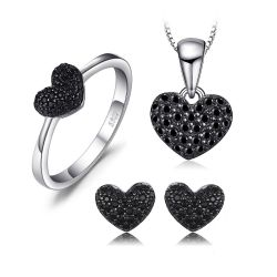 Love Heart Genuine Black Spinel  925 Sterling Silver Jewelry Set
