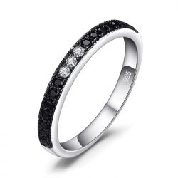 Genuine Black Spinel Ring 925 Sterling Silver Rings