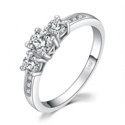 3 Stone CZ 925 Sterling Silver Rings for Women