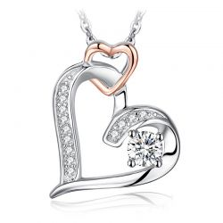 Infinity Heart Pendant Necklace 925 Sterling Silver