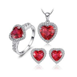 Created Red Ruby Solid Sterling silver jewelry set for Women