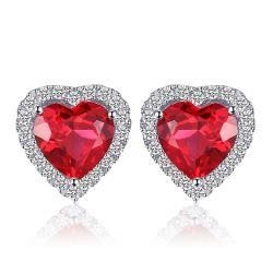 True Love 3ct Created Ruby 925 Sterling Silver Earrings