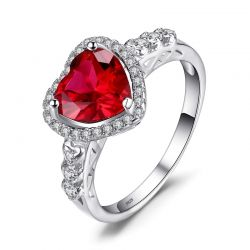True Love 3ct Created Ruby 925 Sterling Silver Rings