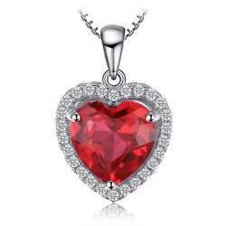 True Love 3ct Created Ruby 925 Sterling Silver Pendant