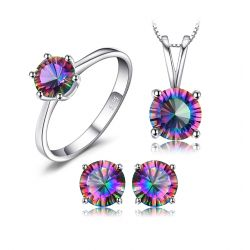 Mystic Topaz Chain Pendant Necklace Earrings Ring Set 925 Sterling Silver