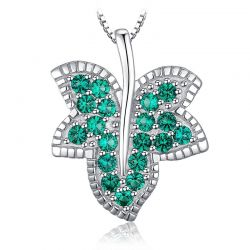 925 Sterling Silver Leaf Simulated Nano Emerald Pendant Necklace