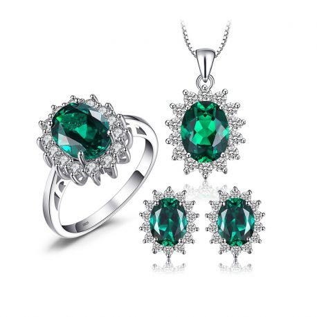 Simulated Emerald 925 Sterling Silver Jewelry Set for Women