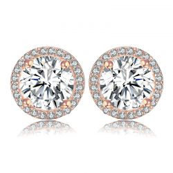 Rose Gold toned 925 Sterling Silver CZ Stud Earrings