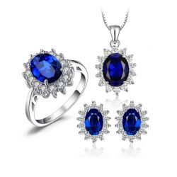 Created Sapphire 925 Sterling Silver Gemstones Jewelry Set