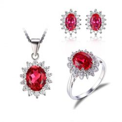 Created Ruby Stud Earrings 925 Sterling Silver Ring Pendant  for Women