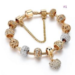 Love heart Rose Gold toned bracelet with beads, charms, dangles