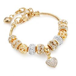 Cubic Zirconia Charm Gold toned Heart Bracelets For Women