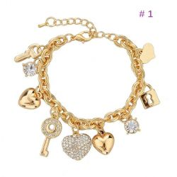 Heart  and Owl shape Charm Gold toned Bracelets