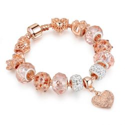 Crystal Bear Bracelets &Bangles For Women Heart Charm