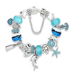 Ocean Animals charms Turtle,Dolphin,Seahorse  and Starfish Bracelet