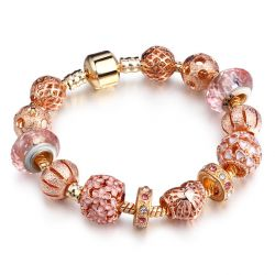 Rose Gold toned flower and heart charms bracelet  for women