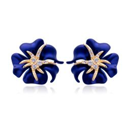 Gold Crystal Rhinestone Navy Blue/Red Sea Starry night Flower Earring