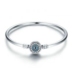 S925 Sterling Silver Blue Eyes Clear CZ  Bangle
