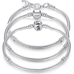 5 Style Silver Color LOVE Snake Chain Bracelet