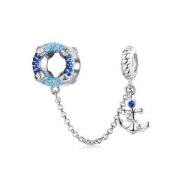 Genuine 925 Sterling Silver Sea Blue Pendant Chain Stopper Beads fit Charms Bracelets