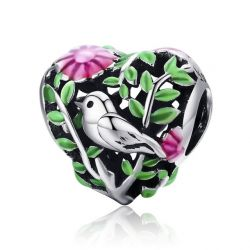 Summer Collection 100% 925 Sterling Silver Bird in the Woods Charm Beads