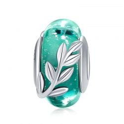 925 Sterling Silver Tree Leaves Green Leaf Murano Glass Beads