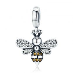 Genuine 925 Sterling Silver Crystal Bee Crystal Charm