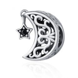 Moon and Star Goodnight Charm Beads 925 Sterling Silver