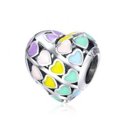925 Sterling Silver Rainbow Heart Color Enamel Charms Beads
