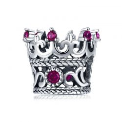 925 Sterling Silver Queen's Crown Pink CZ Crystal Charm Beads