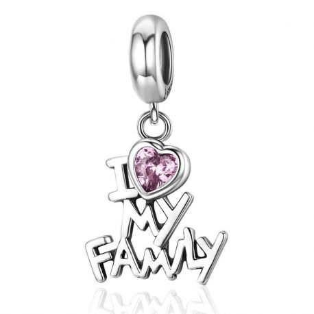 925 Sterling Silver I Love My Family Heart Dangle Charms