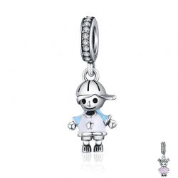 925 Sterling Silver Couple Little Girl & Boy Pendant Charm