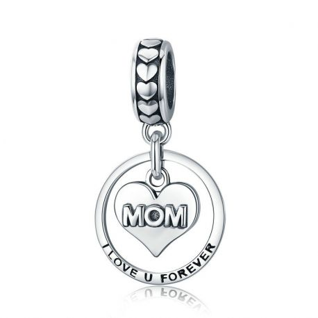 Silver I Love u Forever Mom Mother Engrave Beads