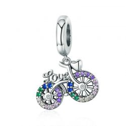 Silver Crystal Bike Bicycle Shape Pendant Charms fit Original Bracelets