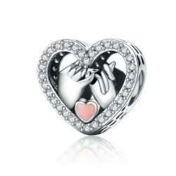 Sterling Silver Promise For Romantic Love Heart Beads