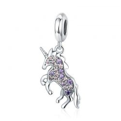 S925 Silver Unicorn Pendant Colorful CZ Animal Charms