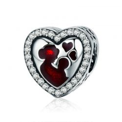 Silver Great Mother's Love Heart Engrave Charm Beads fit Bracele