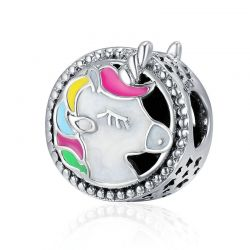 Silver Adorable Unicorn  Color Enamel Beads fit Original Charm Bracelet