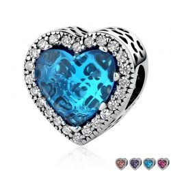 Sterling Silver Jewelry Radiant Color Stone Hearts Beads Charms