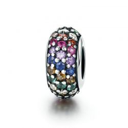 Genuine 925 Sterling Silver Rainbow Colorful Zircon Spacer
