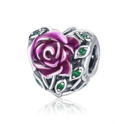 Romantic Rose Love Flower in Heart Shape Pink Enamel Charms Beads