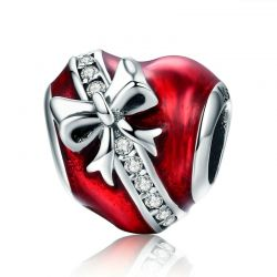 Romantic New 925 Sterling Silver Bowknot Heart Clear CZ Beads