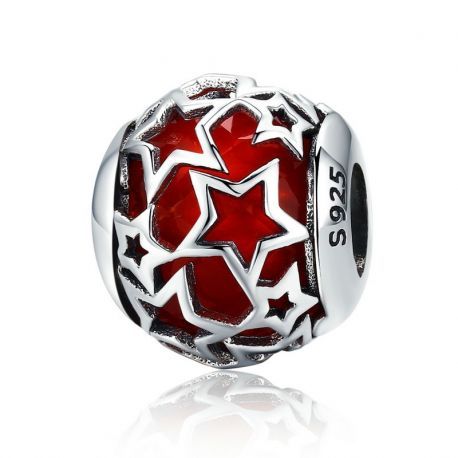 Silver Shimmering Star Red Crystal CZ Beads fit Women Bracelets